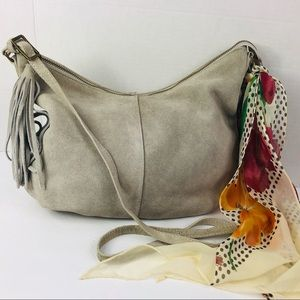 Margot Women's Bag Tassel Hobo Leather Suede Gray